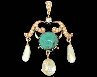 Antique 14k Gold Diamond Turquoise River Pearls Pendant, Exquisite c1900
