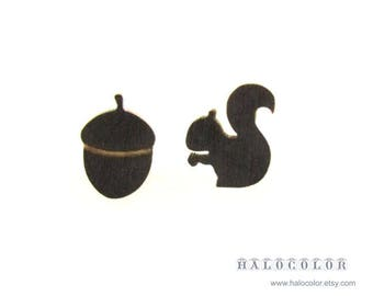 Dyeing Series - 10 pcs  Variety of Colors Squirrel  and Filbert Wood Charm / Earring Supplies / Wood Cabochons WES19