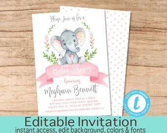 Girl Elephant Baby Shower Invitation, Safari Elephant Invitation, Editable invitation, Watercolor Baby Elephant Invitation, Instant Download