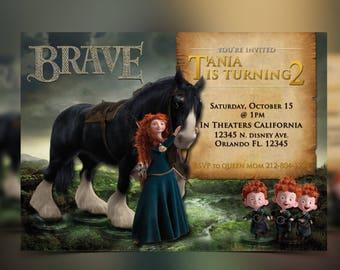 Disney Brave Merida, Princess Merida, Merida Birthday Invitation, Princess Birthday, Merida - Personalized