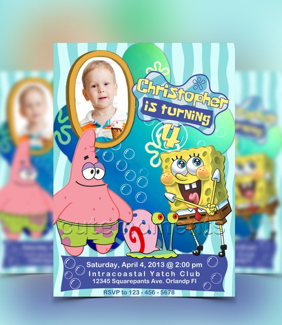 Spongebob squarepants spongebob invitation spongebob birthday il570xn filmwisefo