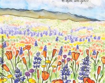 02-121. wildflower meadow art print