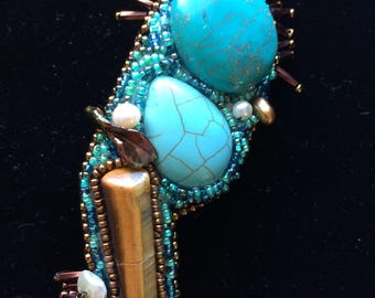 Beaded brooch, handmade pin, one of a kind, tigers eye, turquoise, pearls, glass beads, handmade jewelry, river agate, semi-precious stones