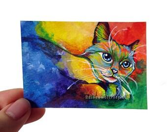 Birman Cat Art, Rainbow Colors, Original ACEO Art Card, Pet Painting, Colourful Artwork, Memorial Portrait, Pet Owner Gift, Blue Eyes