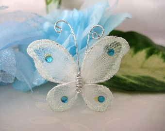 "1.5"" Light Blue Nylon Butterflies for Party Favors, Wedding, Baptism, Sweet 16, Table Scatters, Scrapbooking, Embellishment, 12 pcs, 45 mm"