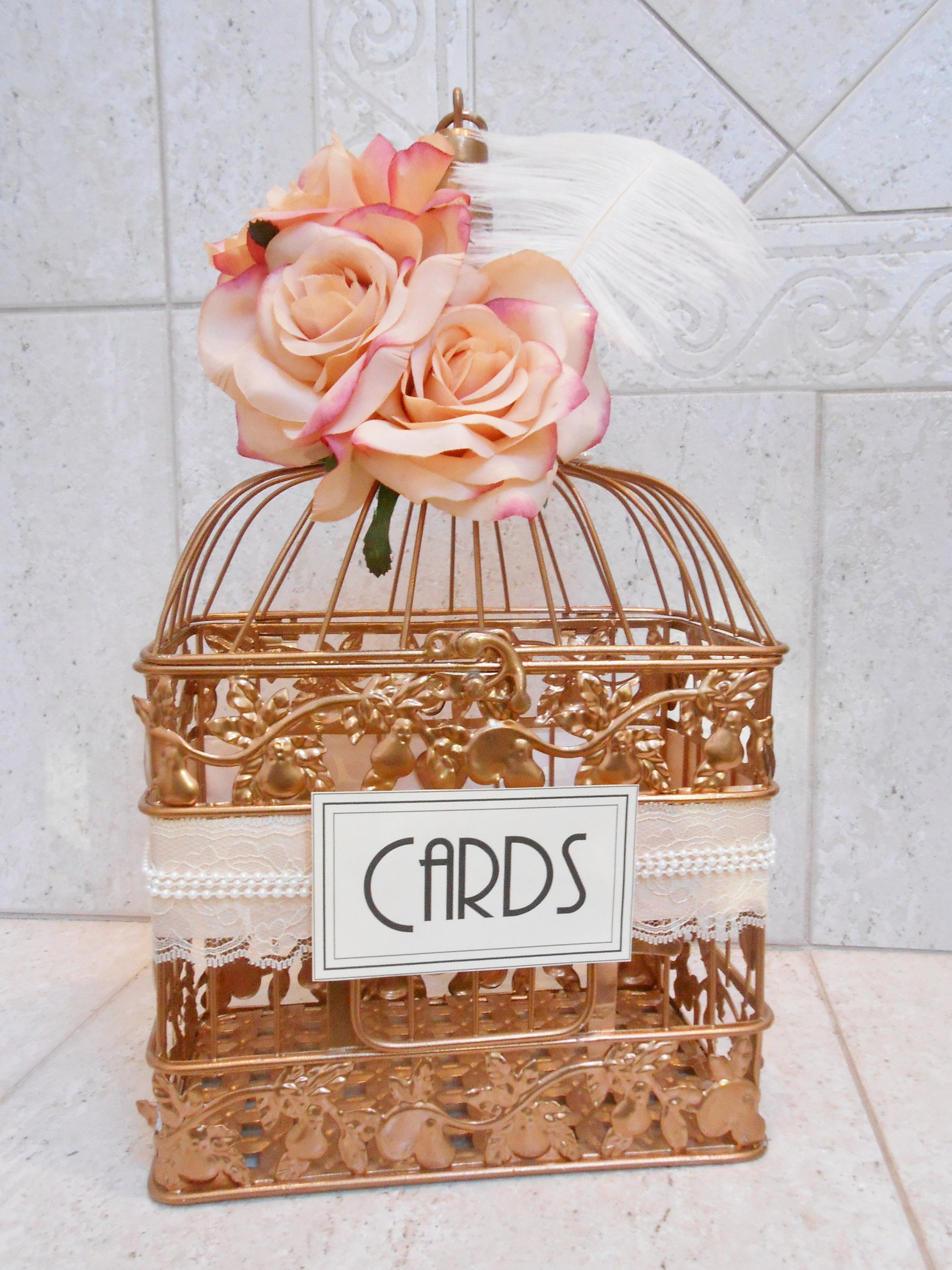 Ready To Ship Small Rose Gold Wedding Birdcage Card Holder