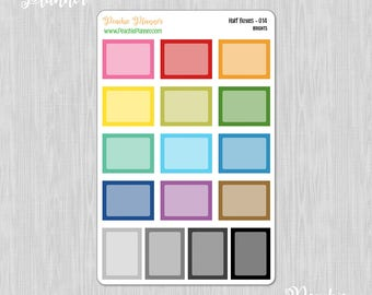 Half Boxes, Rainbow Brights - 16 Functional Planner Stickers for your MAMBI Happy Planner Classic    014