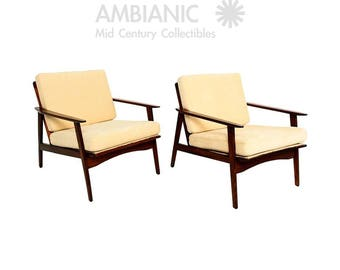 Danish Mid Century Modern Pair of Scandinavian Easy Chairs
