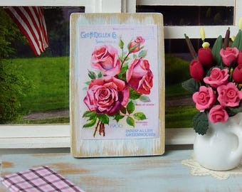 """Miniature Wooden sign 1:12 scale, """"Roses"""" Vintage style"""