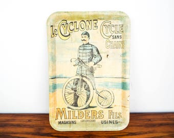 Vintage Wooden Le Cyclone Cycle Sans Chaine Serving Bamboo Tray, Victorian Style Home Decor Kitchen Decoration, Gifts for Cyclists Bikers