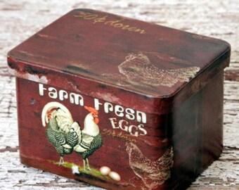 On Sale Farm Fresh Eggs TIN Canister Box Primitive Country Decor Vintage style Primitive