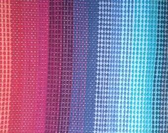 "Rag Rug - Hand-made - All Cotton - 26"" x 26"" - Rainbow Colors"