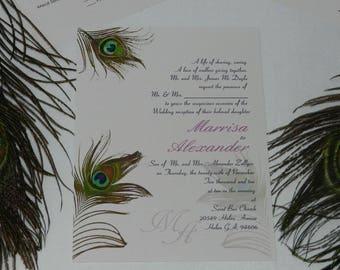 Printable Peacock Feathers Wedding Invitations Invites