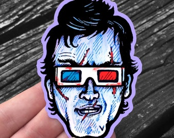 Groovy! Evil Dead Ash Williams with 3D Glasses - Sticker - Weatherproof Decal - FREE US Shipping