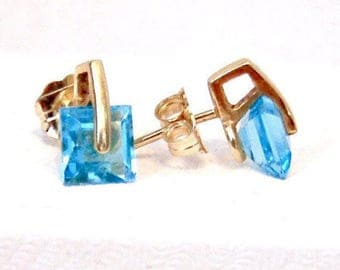 Blue Topaz Princess Cut Stud Earrings, Vintage, 10K Yellow Gold
