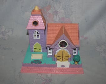 Vintage 1993 Bluebird Polly Pocket Pollyville - Wedding Chapel - Not Collector Quality - 1 Light Working, Tear to Decal - No Dolls