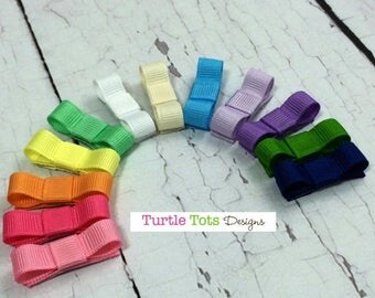 ON SALE Starter Set Baby Hair Clip- Snap Clip- Set of 12 Hair Clip - Pink Yellow White Purple Blue - Baby, Toddler, Girl, Children