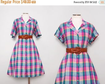 MOVING SALE Madras Dress. Spring Dress. Shirtwaist Dress. 1970s Plaid Dress. Serbin Dress. Fit and Flare Dress. A Line Dress. Vintage Shirtd