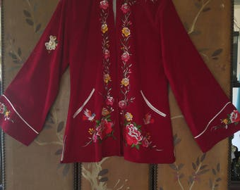 60s burgundy velour Asian embroidered jacket with flared sleeves
