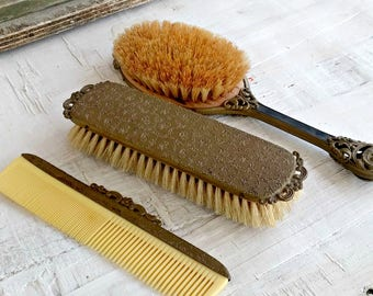 Antique Dressing Set, Hairbrush Comb Clothes Brush Vintage Brass Vanity Set, Art Nouveau Vanity Table Victorian Dressing Set Old, Woman Gift