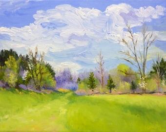 Landscape Oil Painting Spring Plein Air Original Painting Framed Art