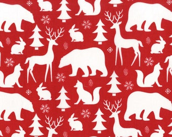 Winter Friends on Santa Red from Michael Miller Fabric's Woodland Winter Collection