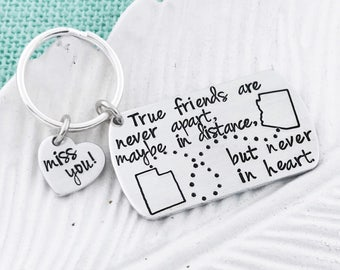 Choose ANY 2 States! Custom Long-Distance Keychain for Best Friends, Family, etc - with Stamped Heart - Metal Stamping by Eight9Designs