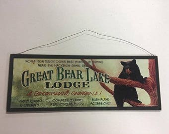 Great Bear lake lodge Wooden Wall Art Sign best hunting and fishing cabin lake house decor