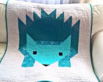 Hedgehog quilt, Modern baby quilt, Baby Quilt, Baby Blanket, Modern Baby Blanket, Girl Quilt