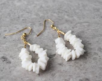 White Shell Dangle Earrings, Vintage Pierced Gold Tone Hooks