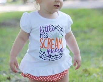 Little Miss Scream Queen - Girl's holiday - Halloween Applique Shirt - Girl's Halloween Shirt - Holiday Designs - Monogrammed Shirt