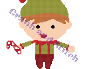 Christmas Elf (Boy) - 100 x 100 - graph and written pattern