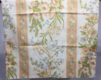 Vintage, Floral, striped floral, pillowcase with orange or peach, blue, and white, flowers, bedding, linens, pillowcase, flowers, floral