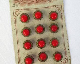 "20% Summer SALE Rare Czecho-Slovakia Carded Buttons, 12  3/8"" shank buttons"