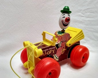 Spring SALE 20% OFF Vintage Jalopy Clown Wooden Fisher Price 1960s Pull Toy 724