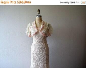 25% SALE 1930s dress . vintage tambour lace gown . wedding dress