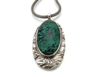 Fine Silver Pendant, Sonoran Sunrise, Chrysocolla, Chrysocolla Stone, White CZ, Chrysocolla Jewelry, Green Chrysocolla, Oval Pendant, 719