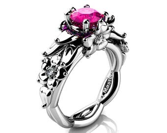 Nature Inspired 14K White Gold 1.0 Ct Pink Sapphire Floral Engagement Ring R460-14KWGPS