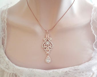 Rose gold necklace ~ Rose gold crystal necklace, Rose gold wedding, Wedding necklace, Brides necklace,Rose gold,Statement necklace, MIA