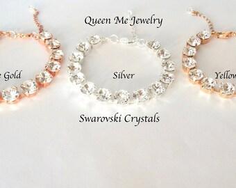 Swarovski crystal bracelet, Crystal wedding bracelet, Crystal tennis bracelet, Brides crystal bracelet, Bridesmaids bracelet- SOPHIA