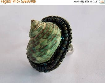 Summer sale Ring, Statement, Bead embroidery, Seashell , extravagant ring ,  Seed beads jewelry,  Fashionable jewelry, Summer ring, green