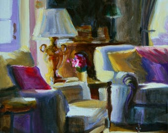 Original Oil Painting of RUSTIGE VOORHUIS, French interior, blue and purple, beautiful sitting room