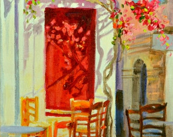 RED DOOR ,art print, Greek street scene, bougainvillea, gift for mom, gift for her, Christmas gift