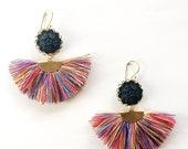 Black Flower Rainbow Fan Earrings, tassel earrings, trends, bohemian, boho rainbow tassel, statement earrings, gift, Tassel Jewelry