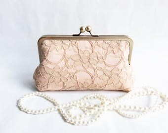 GiGi WeddindgClutch Champange Lace overlay Blush Satin Clutch Made to Order