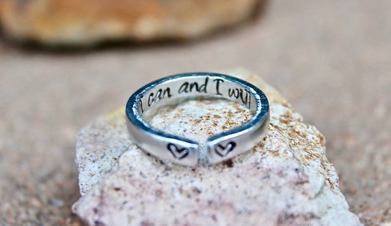 I can and I will Mantra Ring, I can and I will, Mantra Ring, Gift for strong woman, I can and I will Ring, Adjustable Ring, Stackable Ring