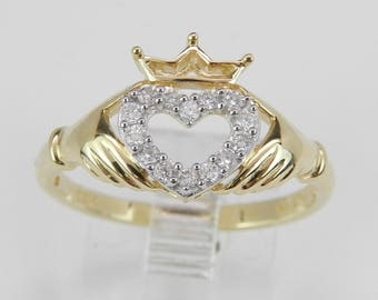 Diamond Heart Crown Irish Claddagh Promise Friendship Ring 14K Yellow Gold Size 7