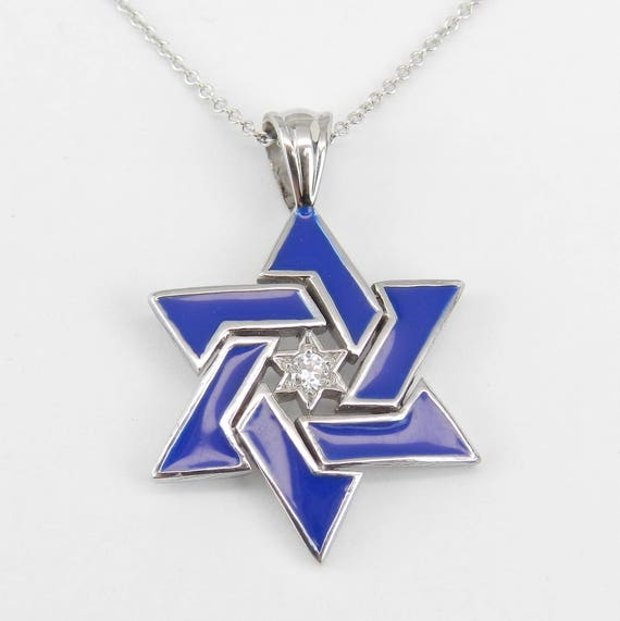 "Diamond and Blue Enamel Star of David Pendant Necklace 14K White Gold 18"" Chain Jewish Religious Charm"