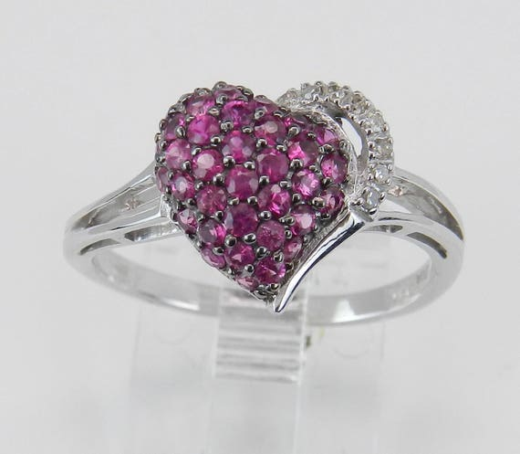 Ruby Heart Ring Diamond Cluster Ring White Gold Red July Birthstone Size 7