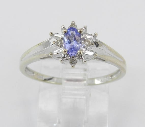 Tanzanite and Diamond Halo Engagement Promise Ring 14K White Gold Size 7.25